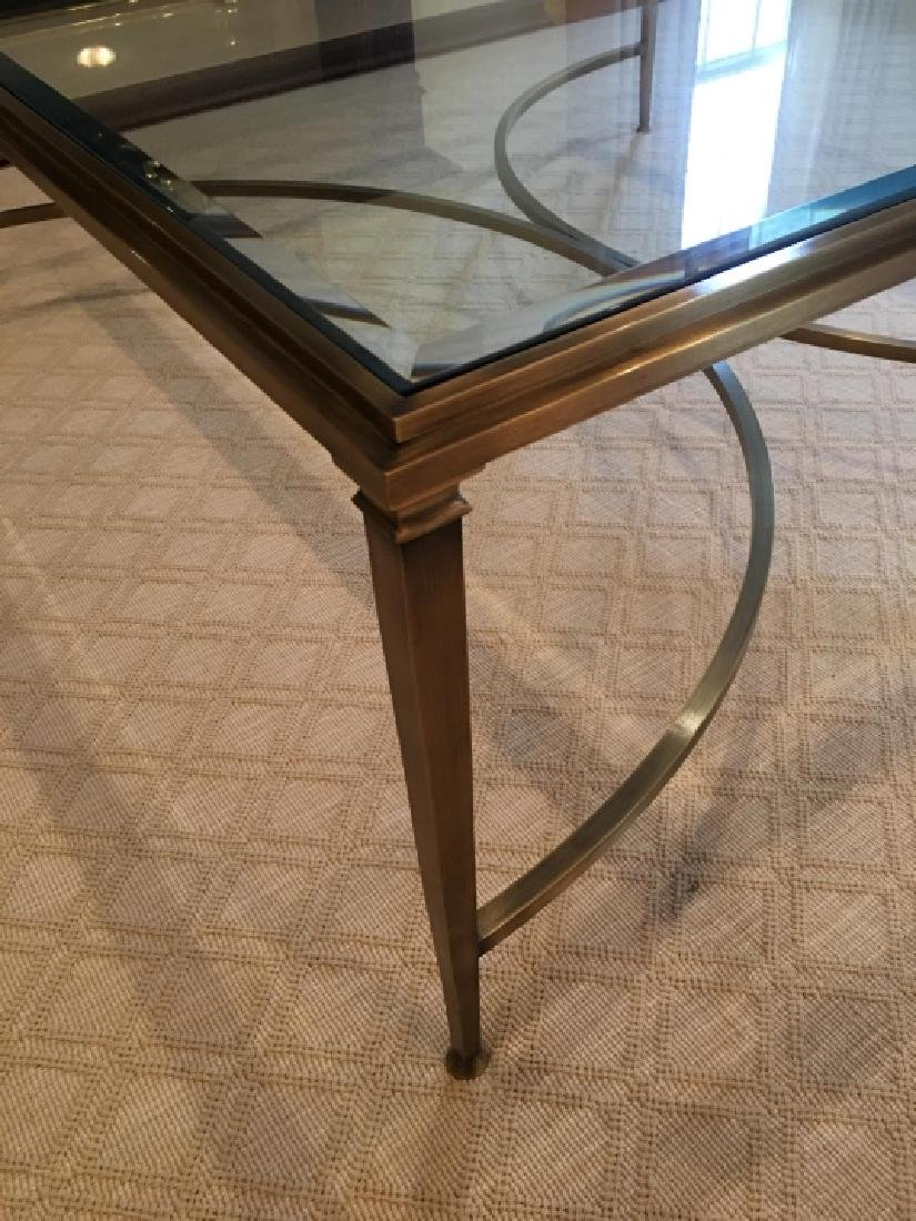 Custom Modern Beveled Glass & Brass Coffee Table - 6