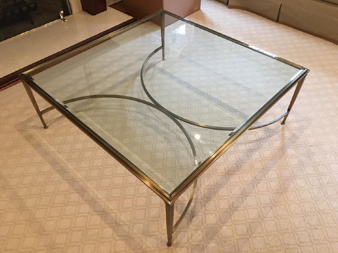 Custom Modern Beveled Glass & Brass Coffee Table - 7