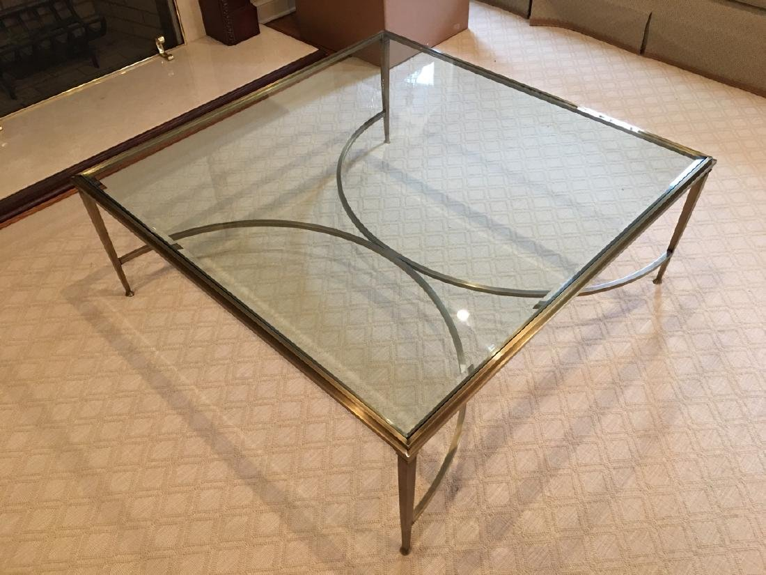 Custom Modern Beveled Glass & Brass Coffee Table - 8