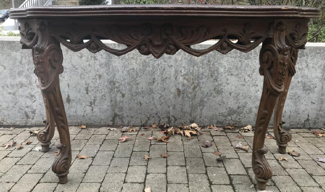 20th C Carved Mahogany Flip Top Console Table