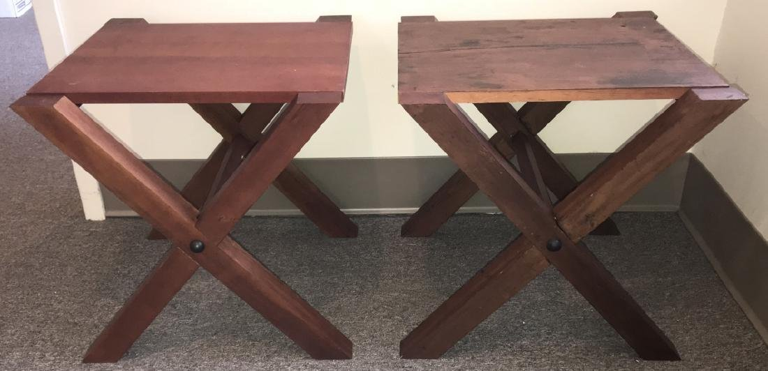 Pair Custom Contemporary Style End / Side Tables