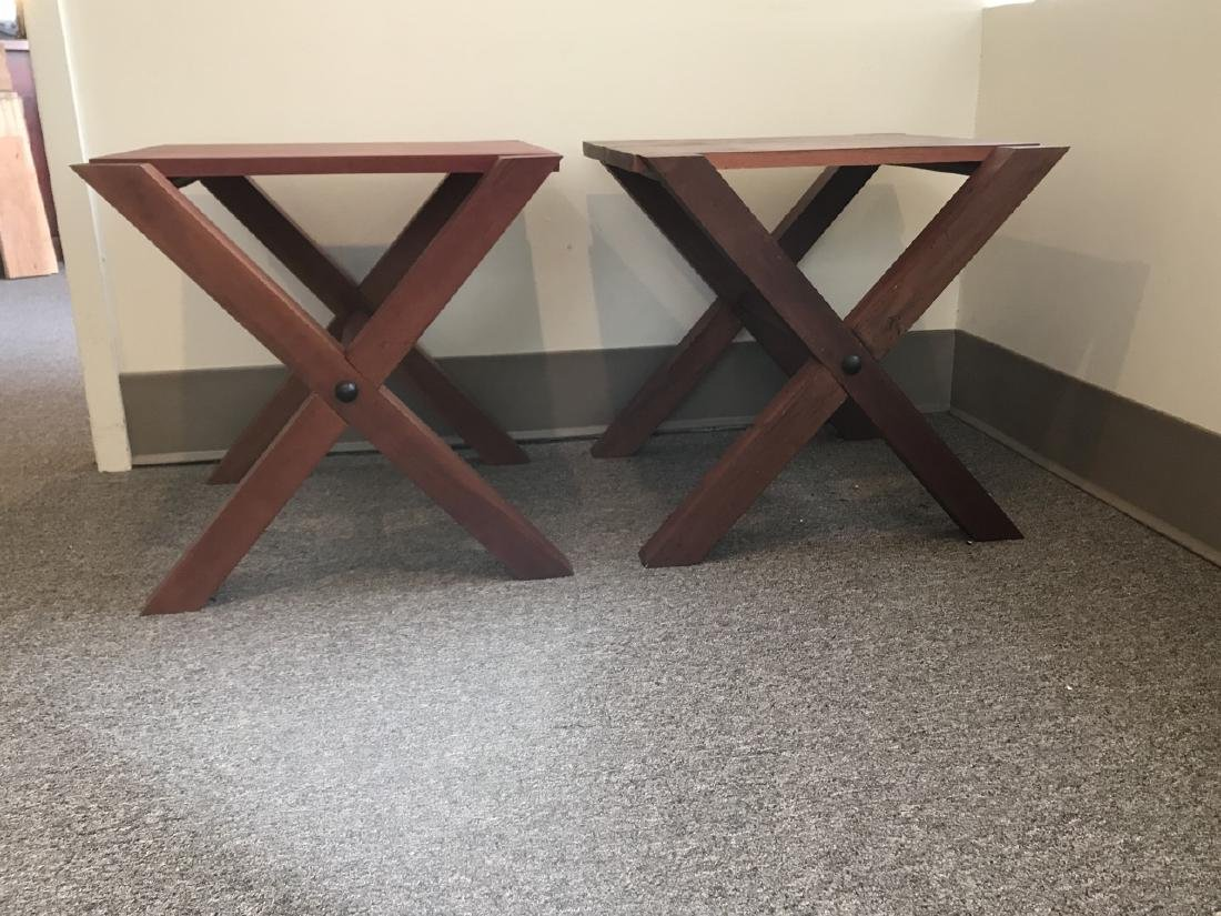 Pair Custom Contemporary Style End / Side Tables - 2