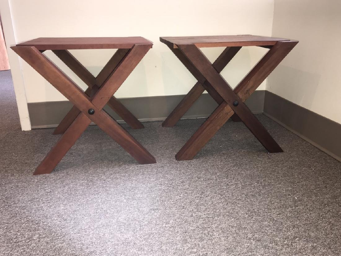 Pair Custom Contemporary Style End / Side Tables - 3
