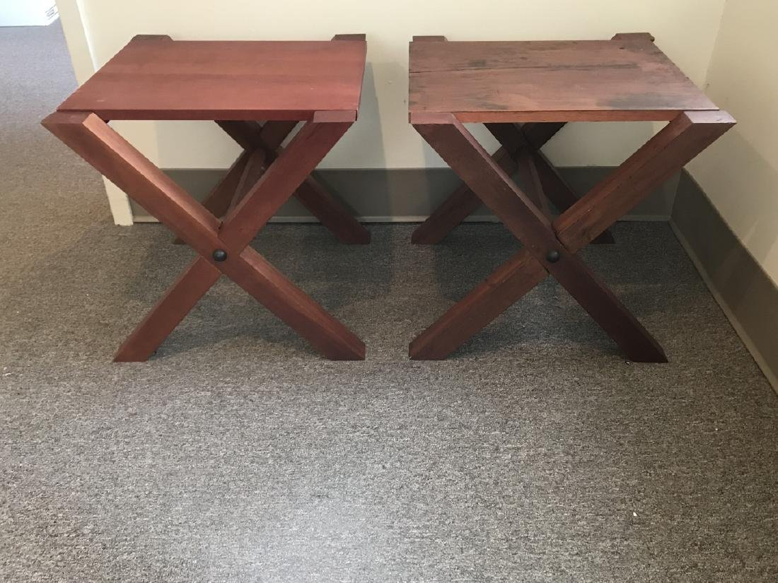 Pair Custom Contemporary Style End / Side Tables - 4