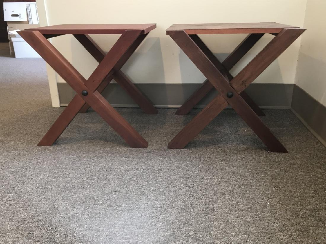 Pair Custom Contemporary Style End / Side Tables - 5