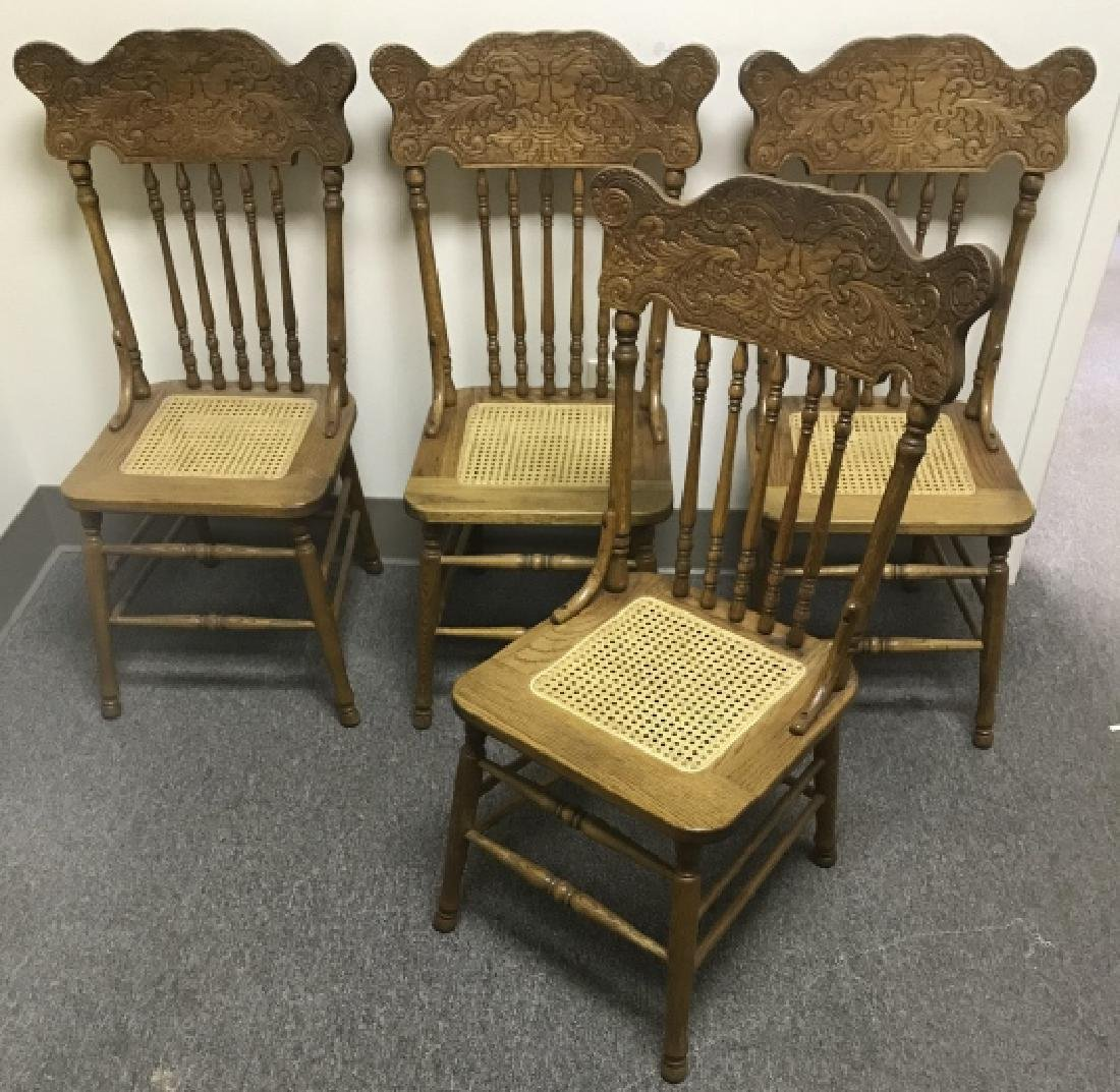 4 Antique Victorian Carved Oak Caned Side Chairs