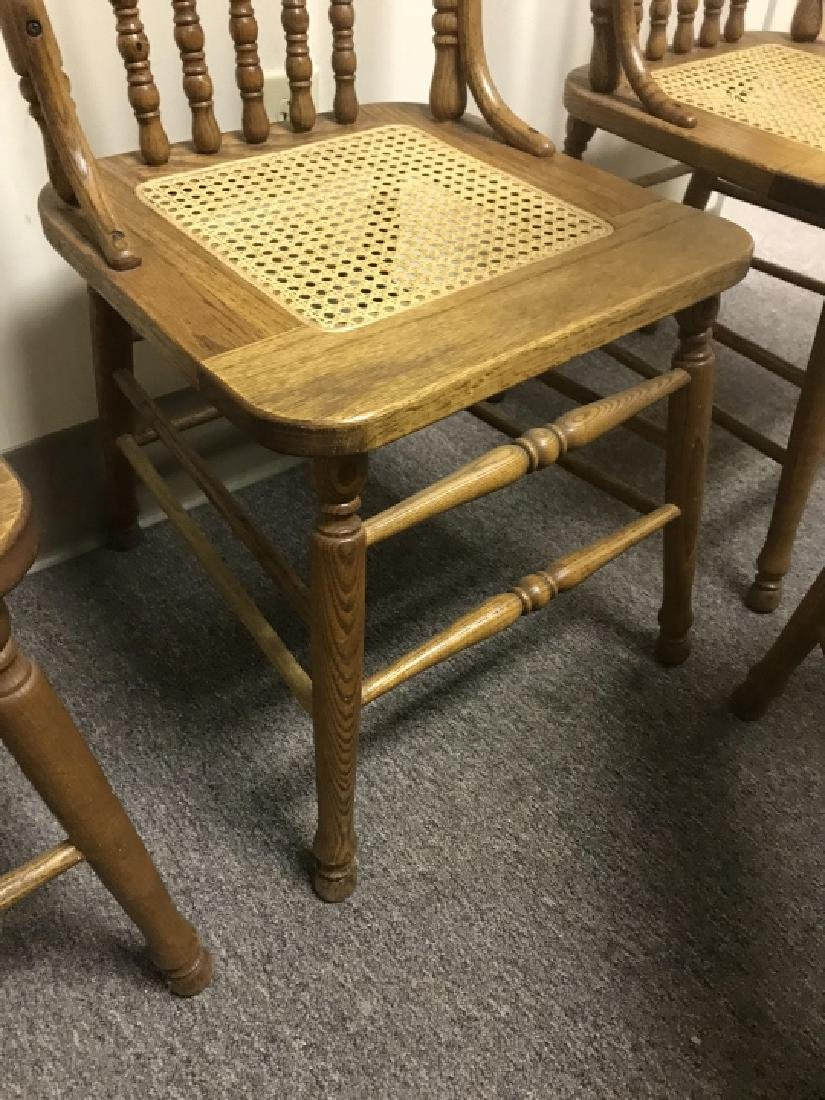 4 Antique Victorian Carved Oak Caned Side Chairs - 2