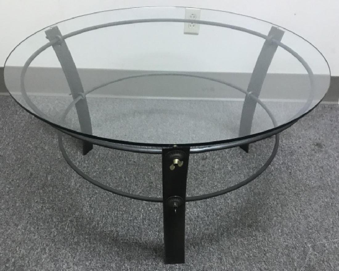 Industrial Style Metal & Glass Top Coffee Table