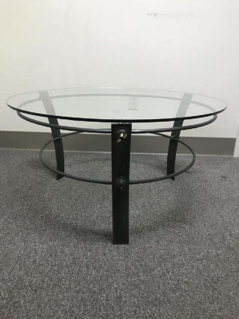Industrial Style Metal & Glass Top Coffee Table - 2