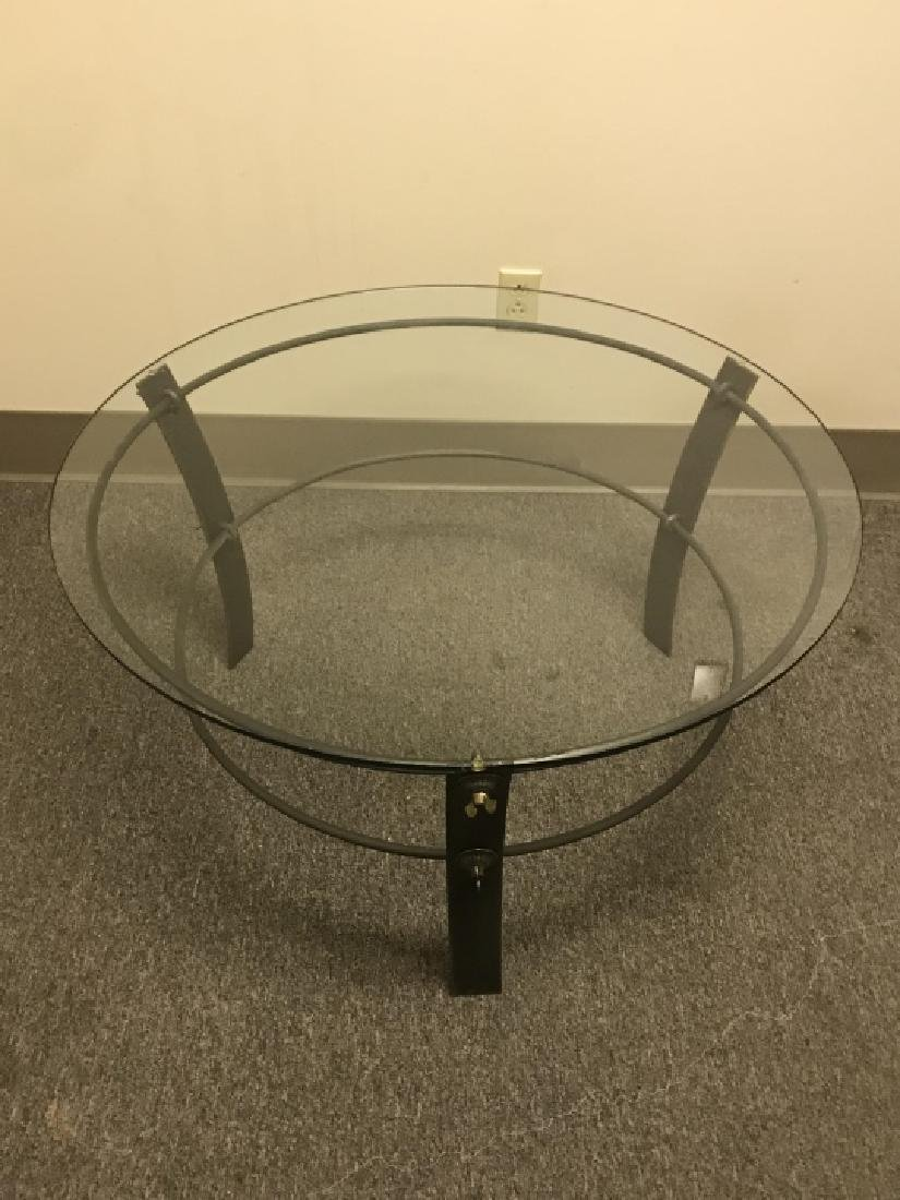 Industrial Style Metal & Glass Top Coffee Table - 5