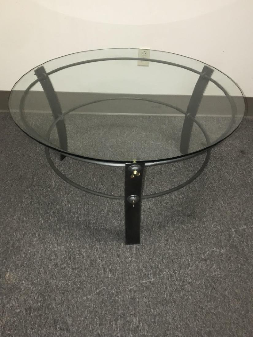 Industrial Style Metal & Glass Top Coffee Table - 6