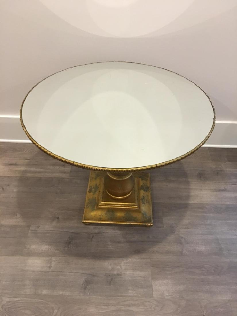 Neoclassical Style Mirrored Top & Gilt Side Table - 2