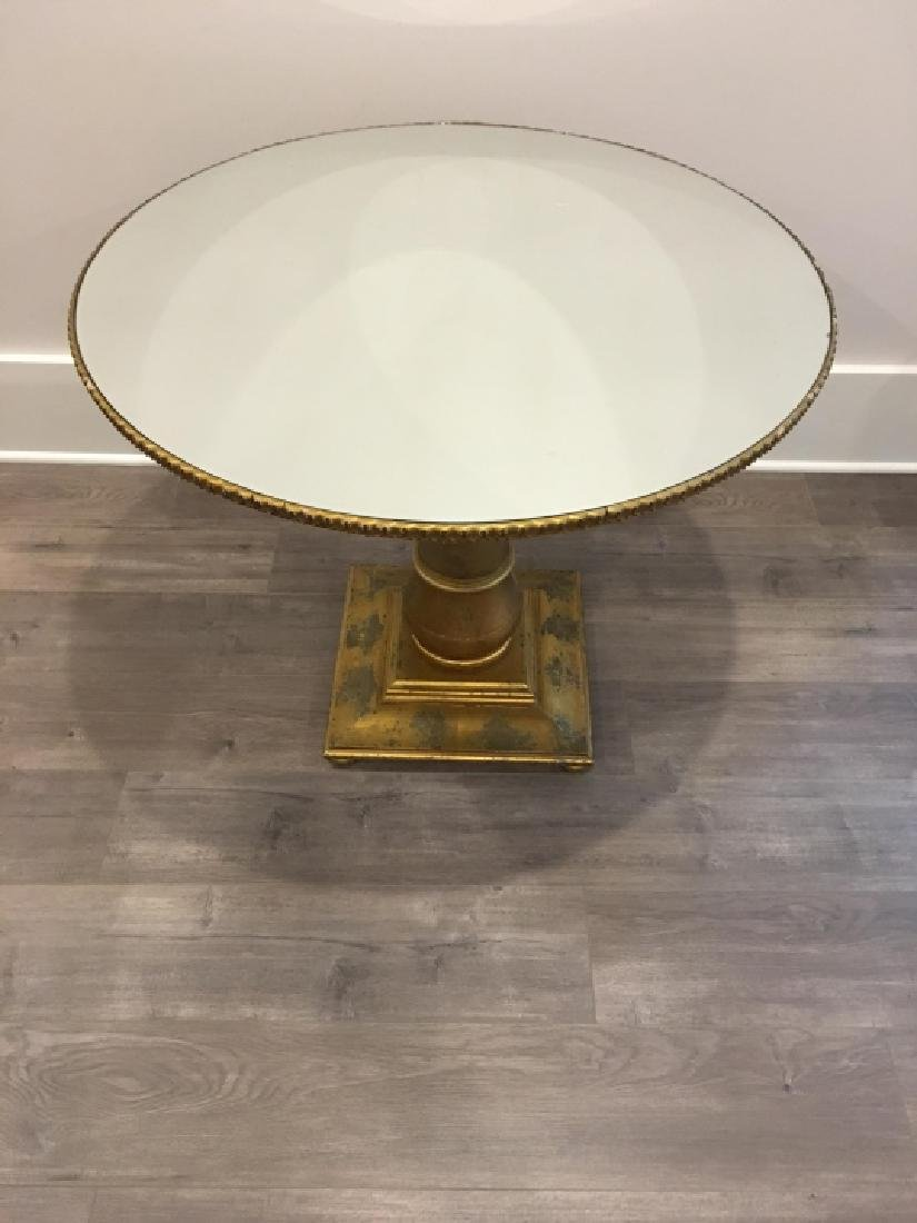 Neoclassical Style Mirrored Top & Gilt Side Table - 5