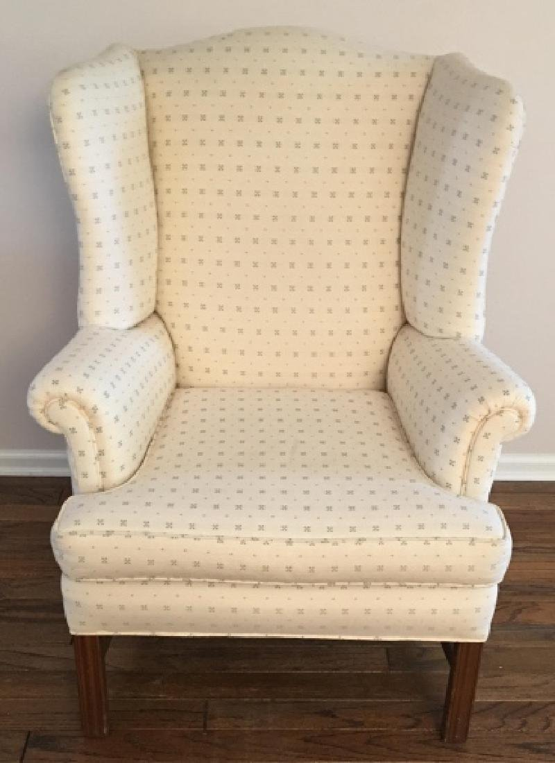 Traditional Style Upholstered Wing Back Arm Chair