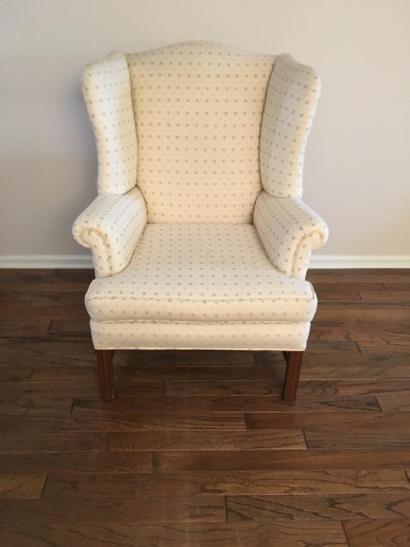 Traditional Style Upholstered Wing Back Arm Chair - 2