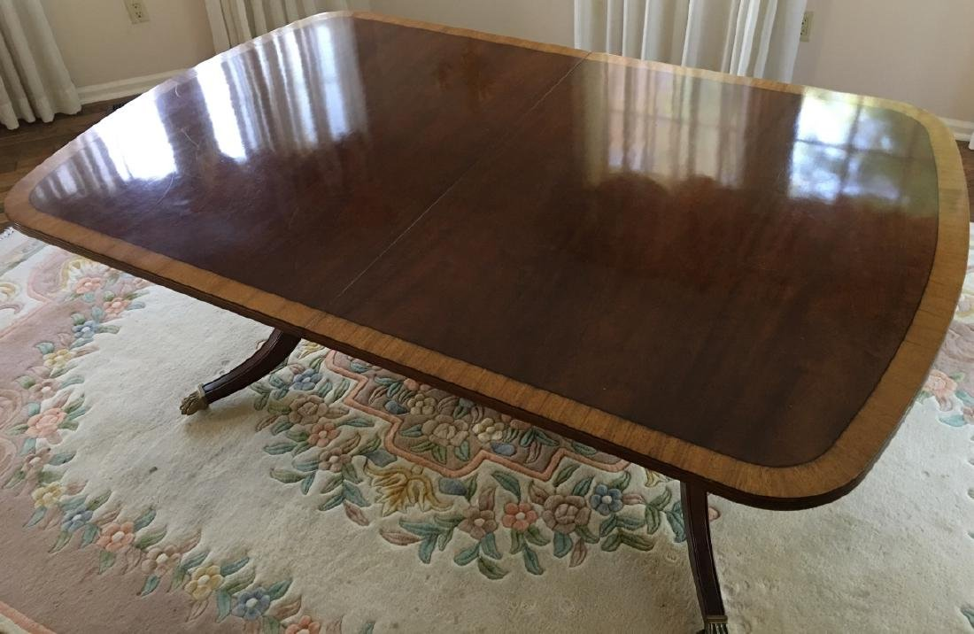 Sheraton Style Double Pedestal Base Dining Table