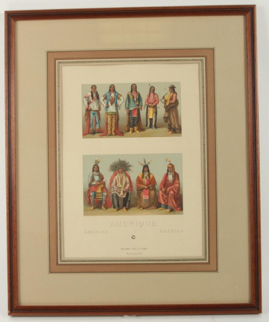 Hand Colored Lithograph American Indian Chiefs