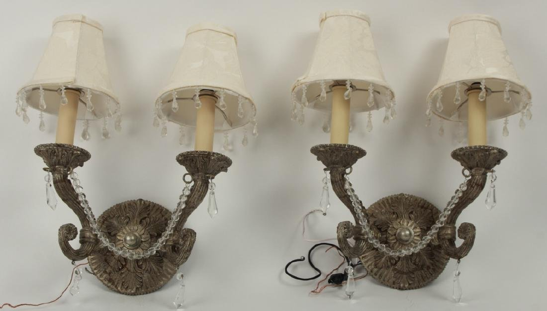 Pair Pewter Tone French Provincial Wall Sconces