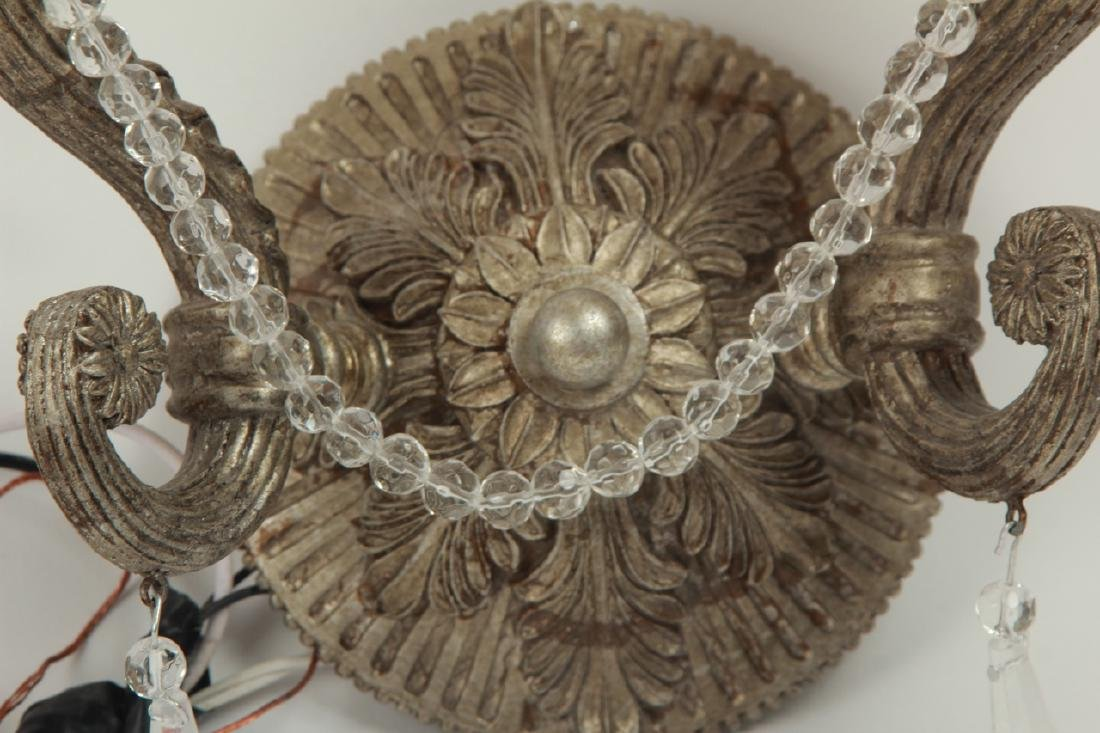 Pair Pewter Tone French Provincial Wall Sconces - 2