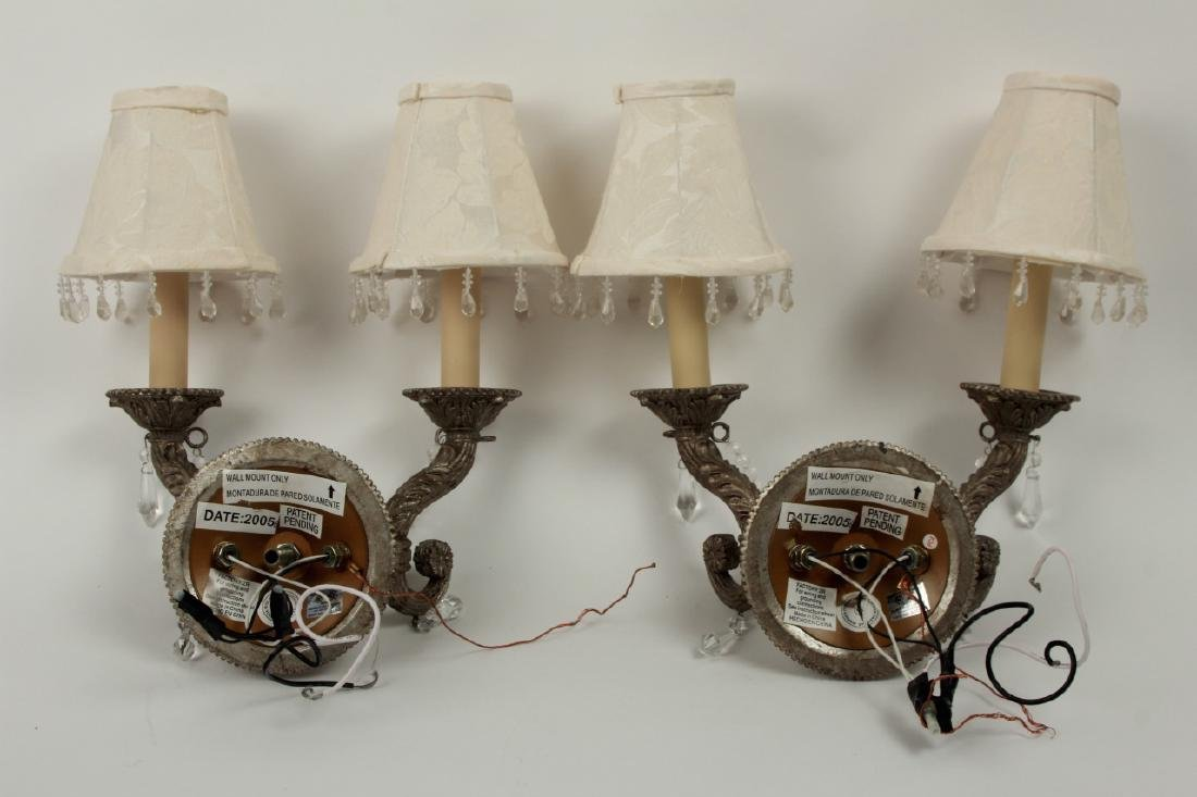 Pair Pewter Tone French Provincial Wall Sconces - 4