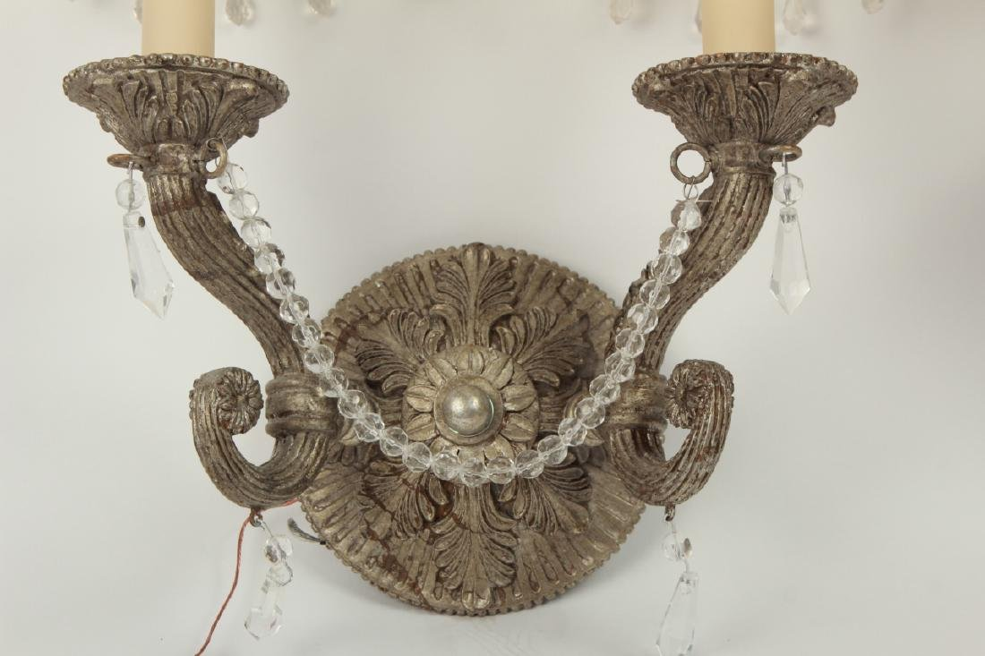 Pair Pewter Tone French Provincial Wall Sconces - 7