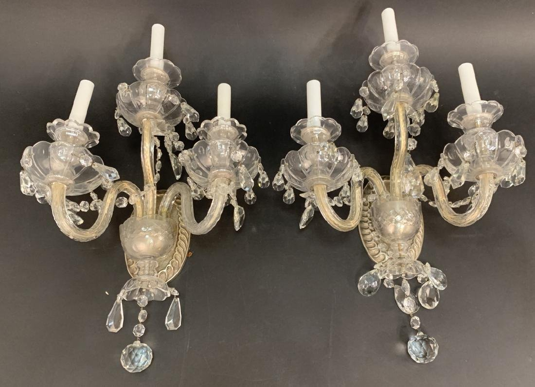 Pair Vintage Venetian Crystal Triple Arm Sconces