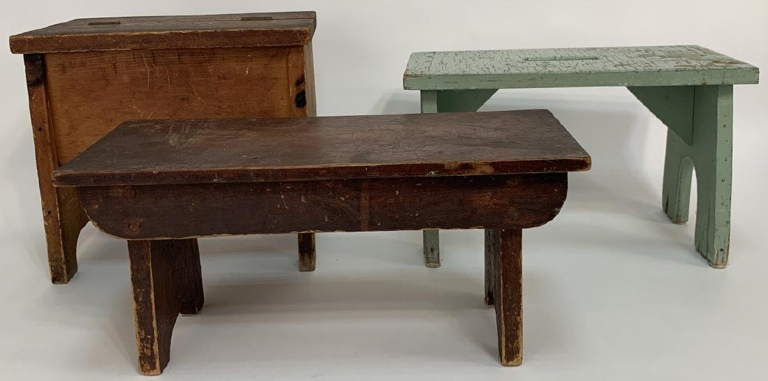 3 Antique Pine Handmade Benches / Cobbler Bench