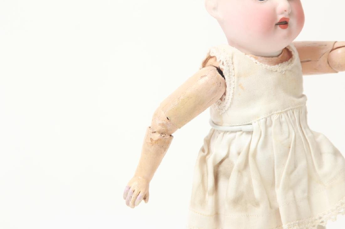 Antique German Small Bisque Doll w Straight Wrist - 6