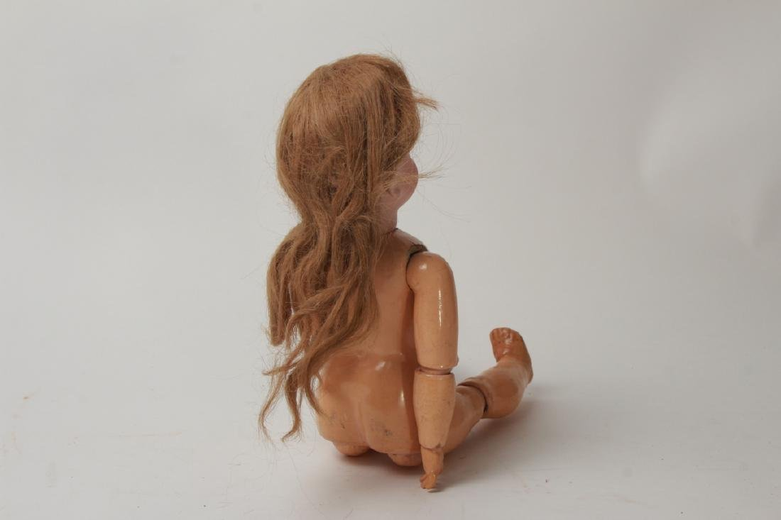 Antique German Bisque Doll w Human Hair Wig - 3