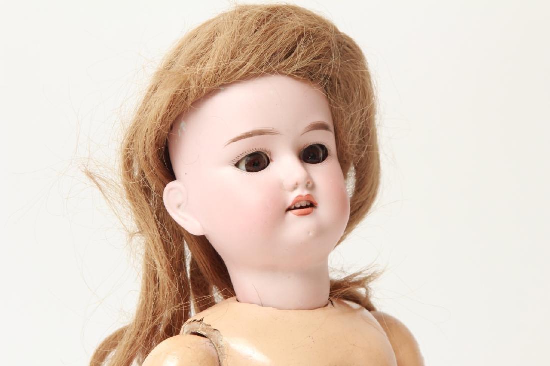 Antique German Bisque Doll w Human Hair Wig - 5