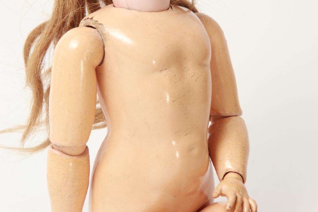 Antique German Bisque Doll w Human Hair Wig - 7