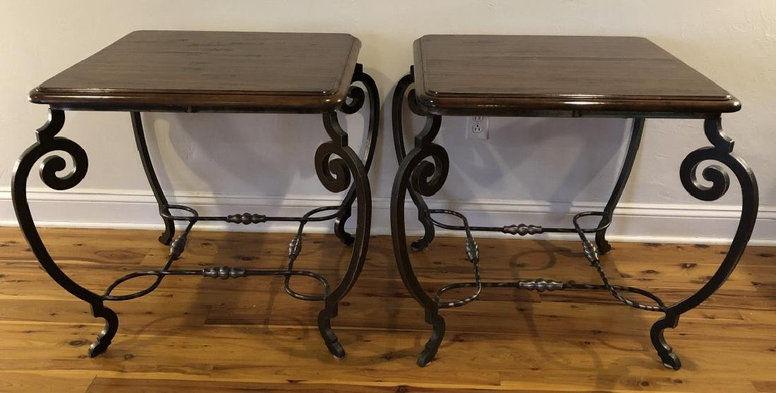Pair Mid C Wrought Iron, Wood, Chrome End Tables
