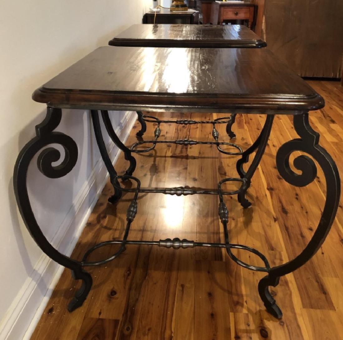 Pair Mid C Wrought Iron, Wood, Chrome End Tables - 2