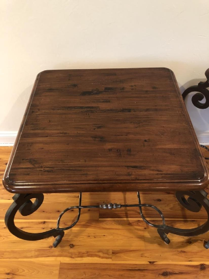 Pair Mid C Wrought Iron, Wood, Chrome End Tables - 3
