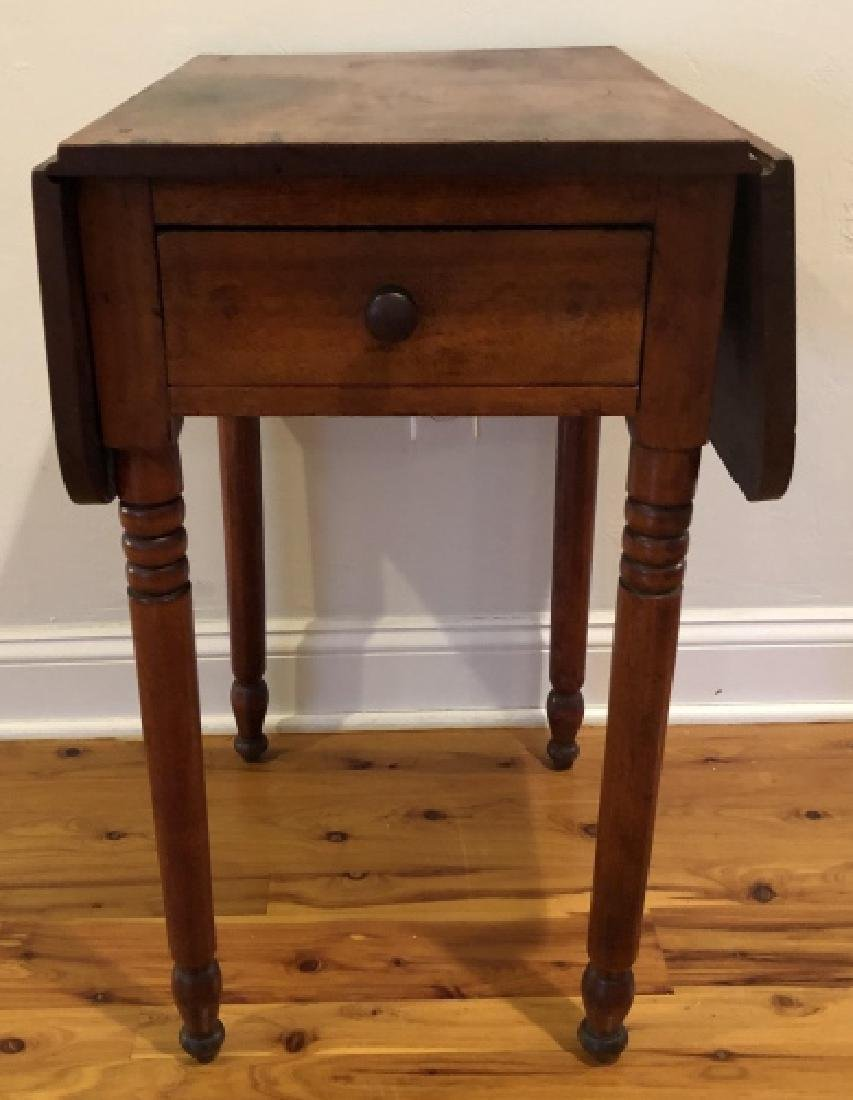 Antique Pine Drop Leaf Side Table with Turned Legs