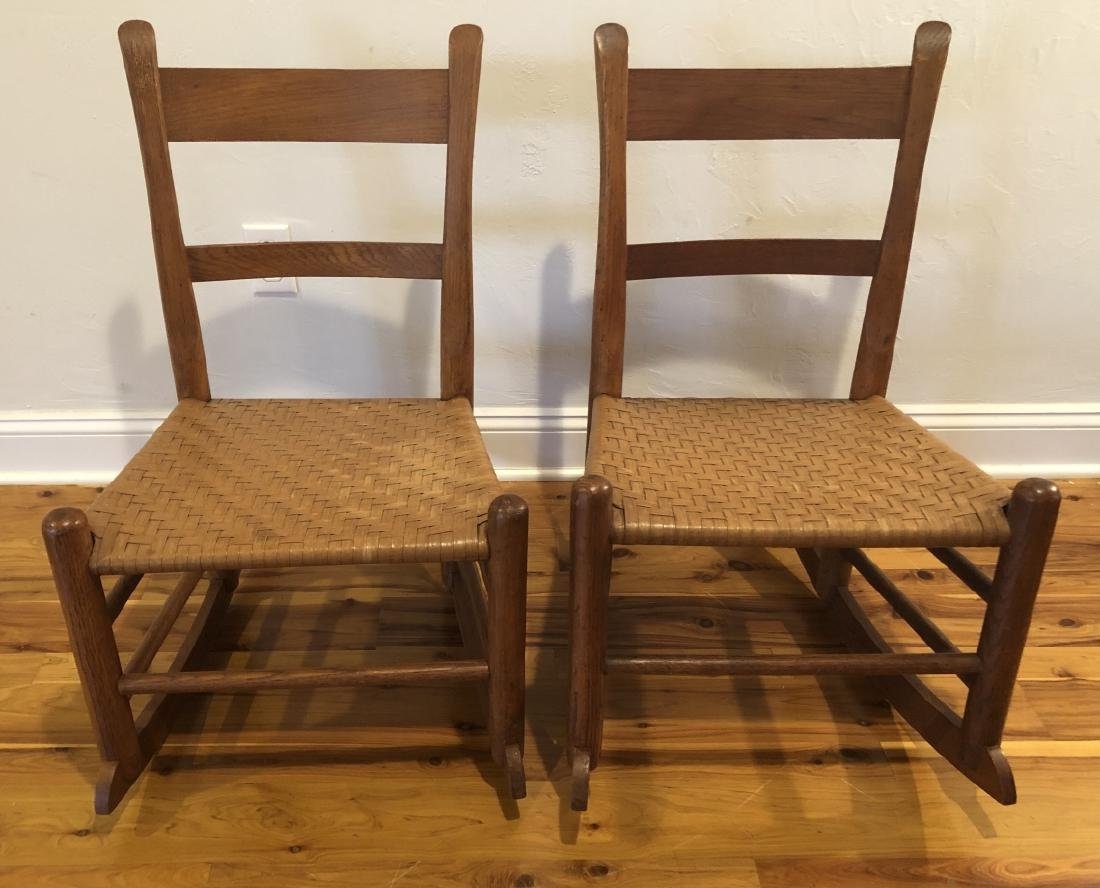 Pair Antique Woven Rocking Chairs