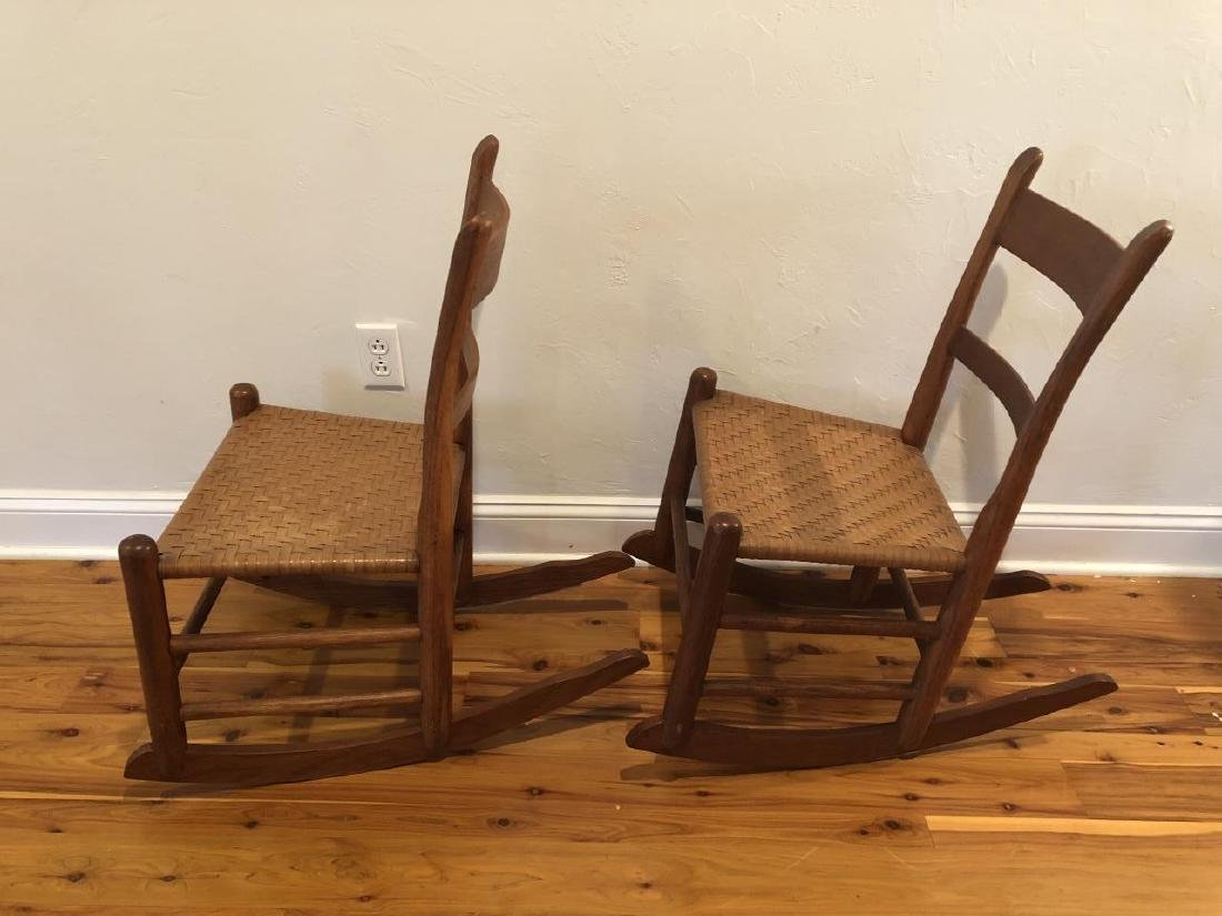 Pair Antique Woven Rocking Chairs - 2