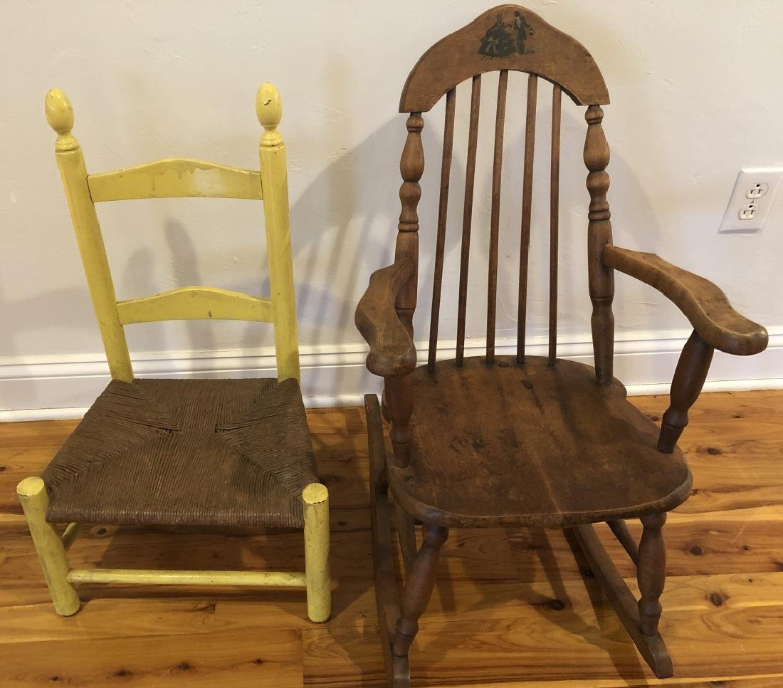 Pair Antique Children's Chairs