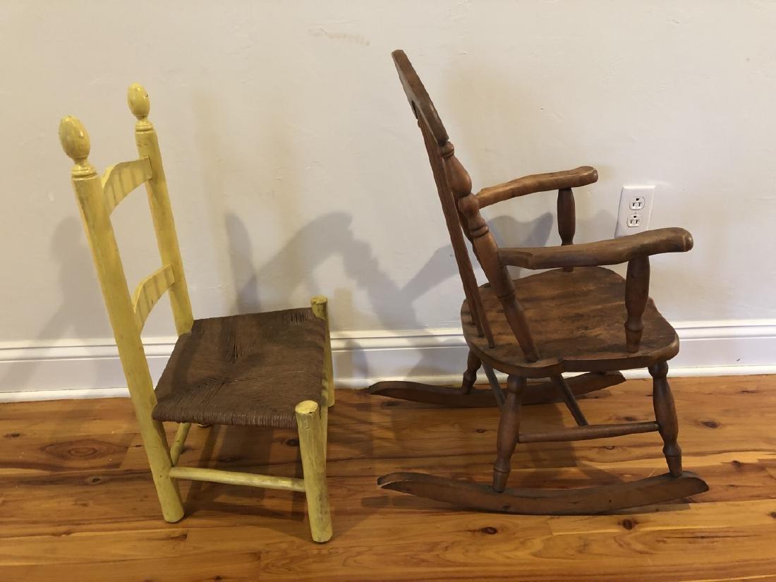 Pair Antique Children's Chairs - 3