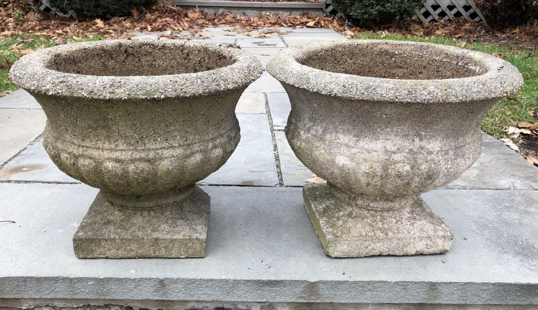 Pair Cast Stone Outdoor Garden Urns