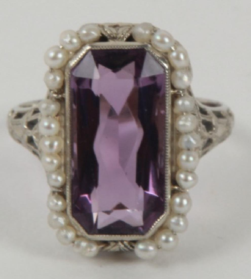 Estate 18kt White Gold Amethyst & Seed Pearl Ring