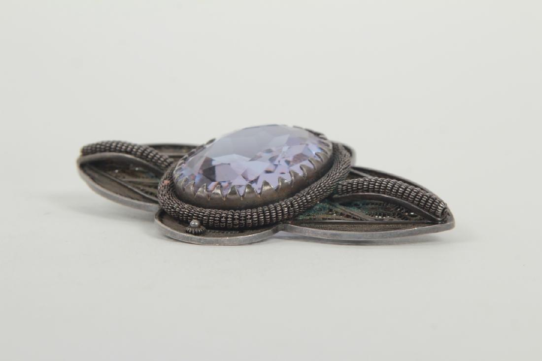 Estate Sterling Silver Filigree Large Scale Brooch - 3