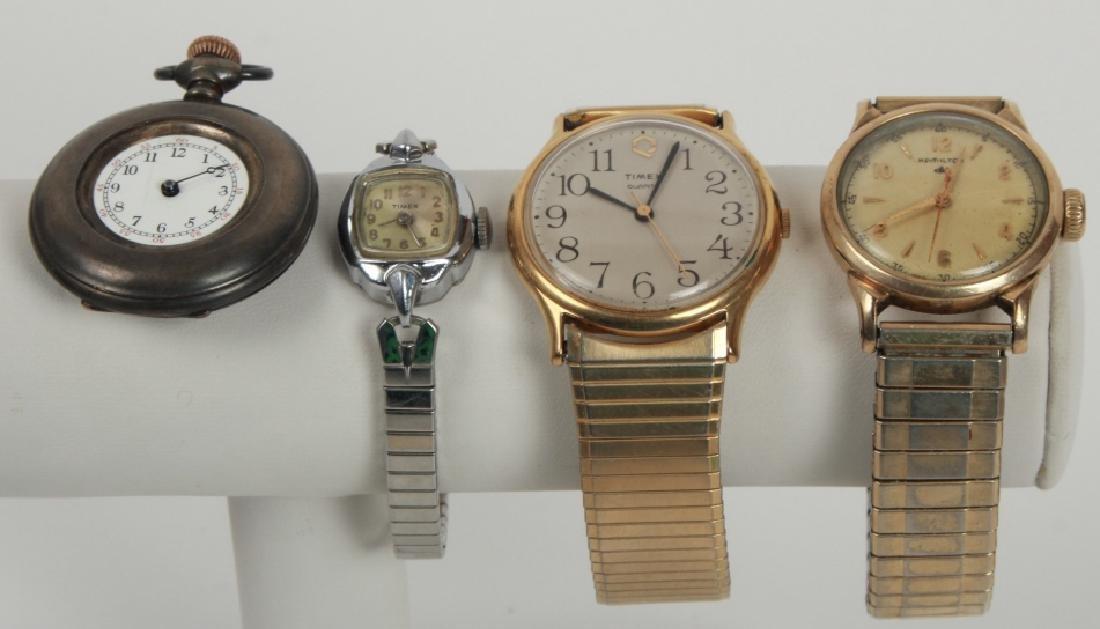 Antique Pocket Watch & Three Vintage Watches