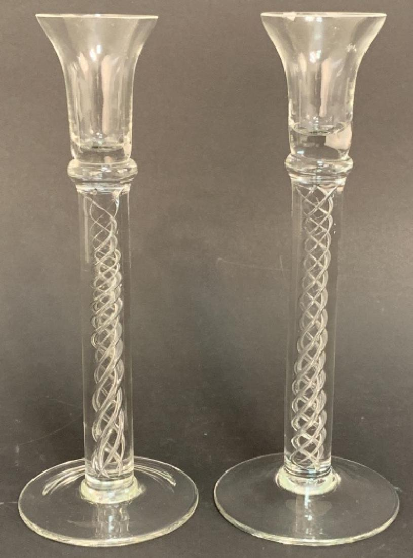 Pair Tiffany Crystal Double Helix Candlesticks