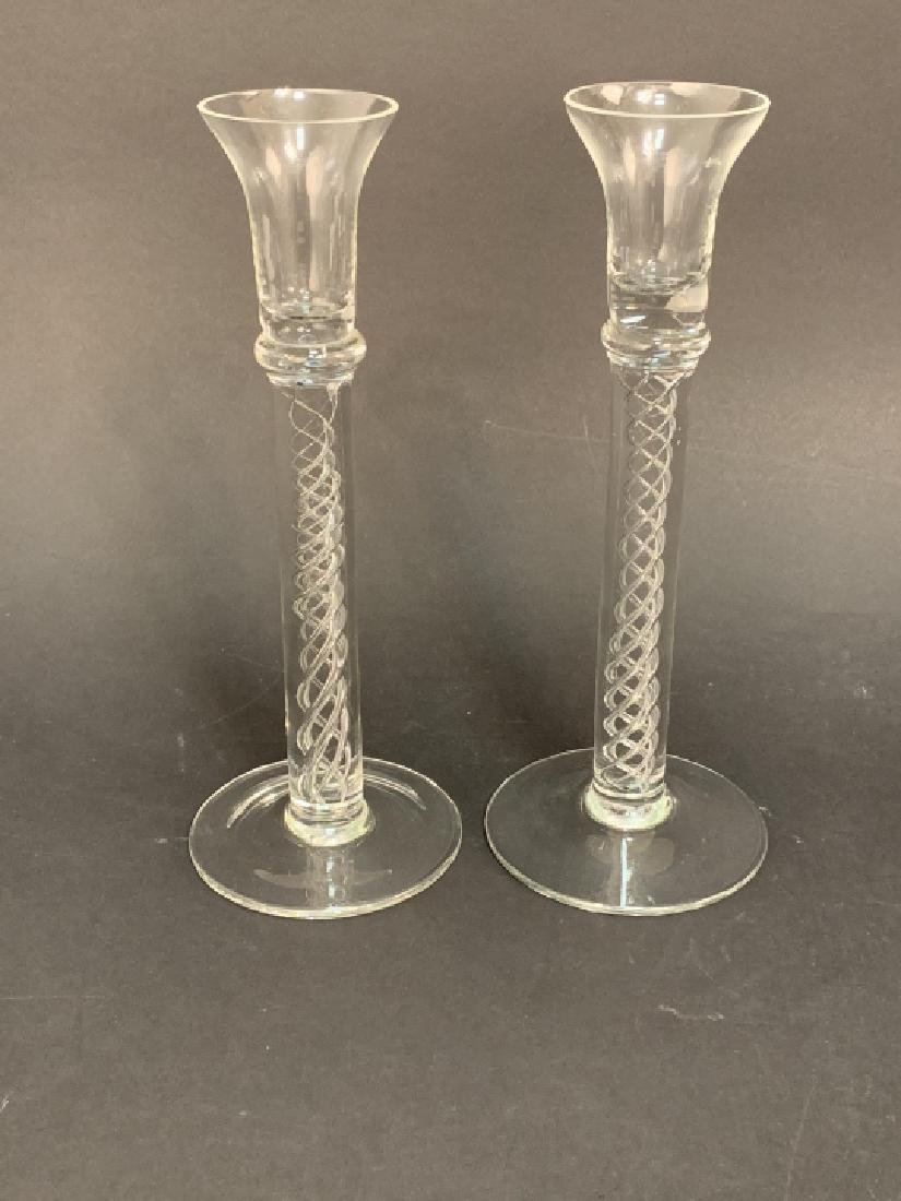 Pair Tiffany Crystal Double Helix Candlesticks - 3