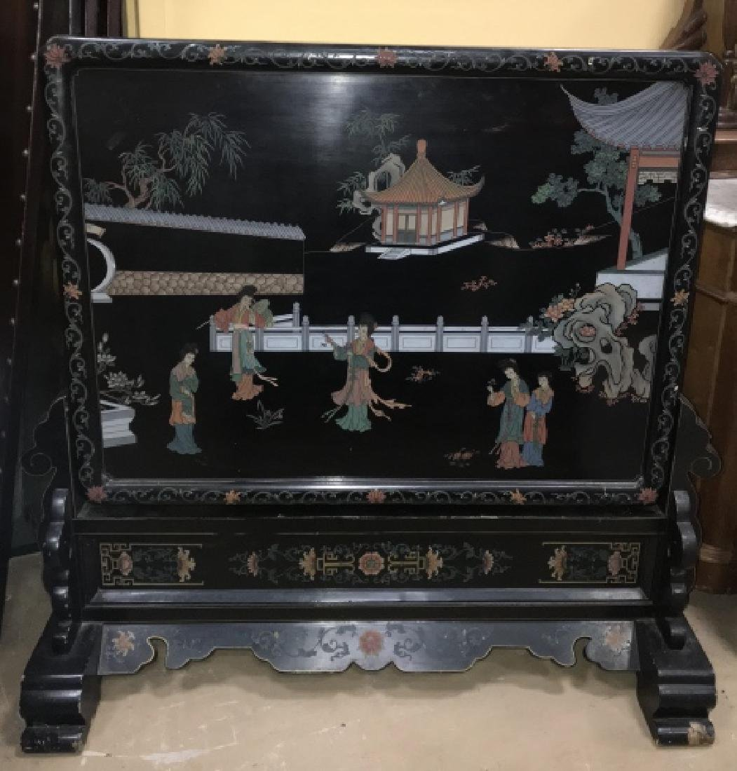 Hand Carved & Painted Chinese Double Sided Screen