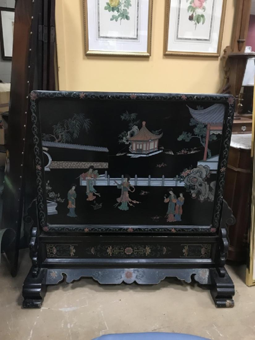 Hand Carved & Painted Chinese Double Sided Screen - 3