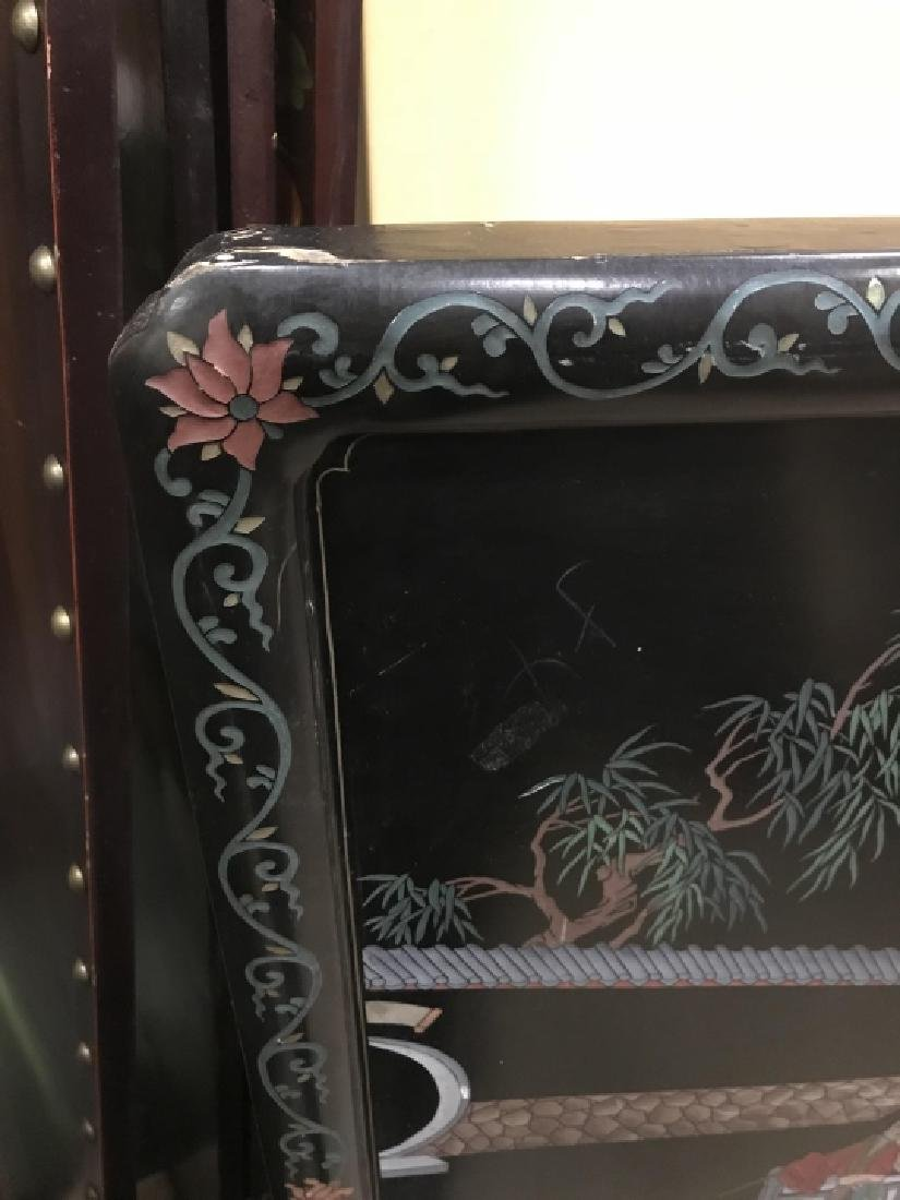 Hand Carved & Painted Chinese Double Sided Screen - 4