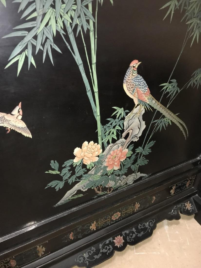 Hand Carved & Painted Chinese Double Sided Screen - 8