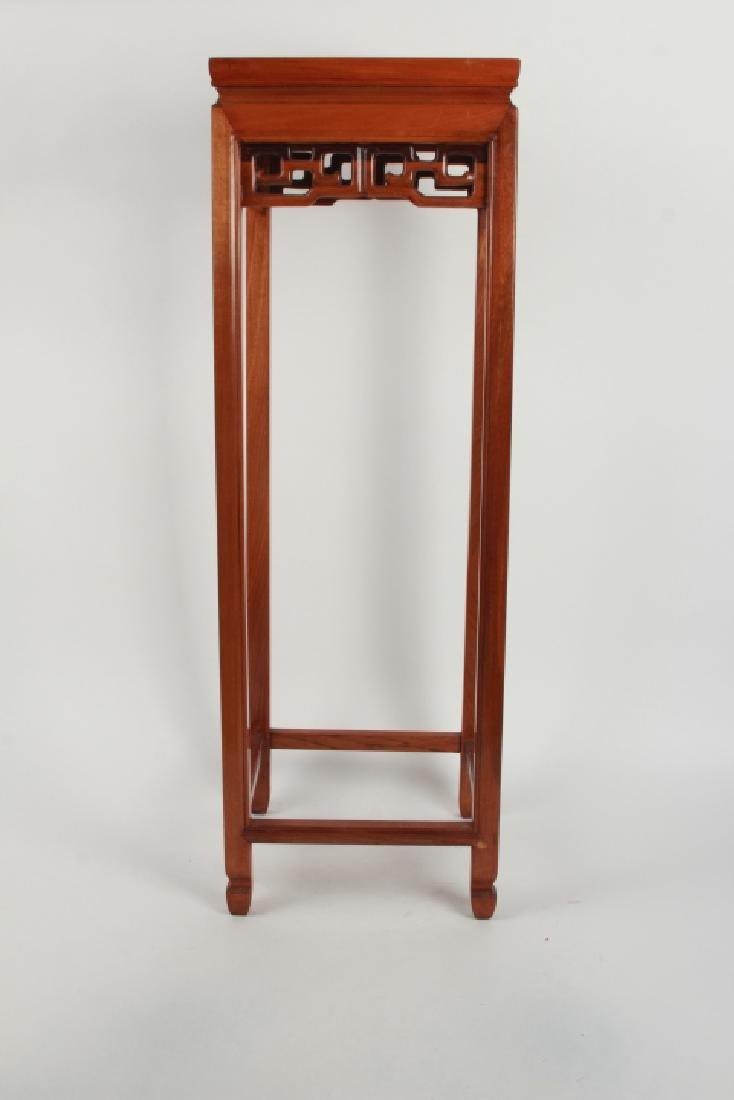 Tall Chinese Carved Wood Plant Stand - 3